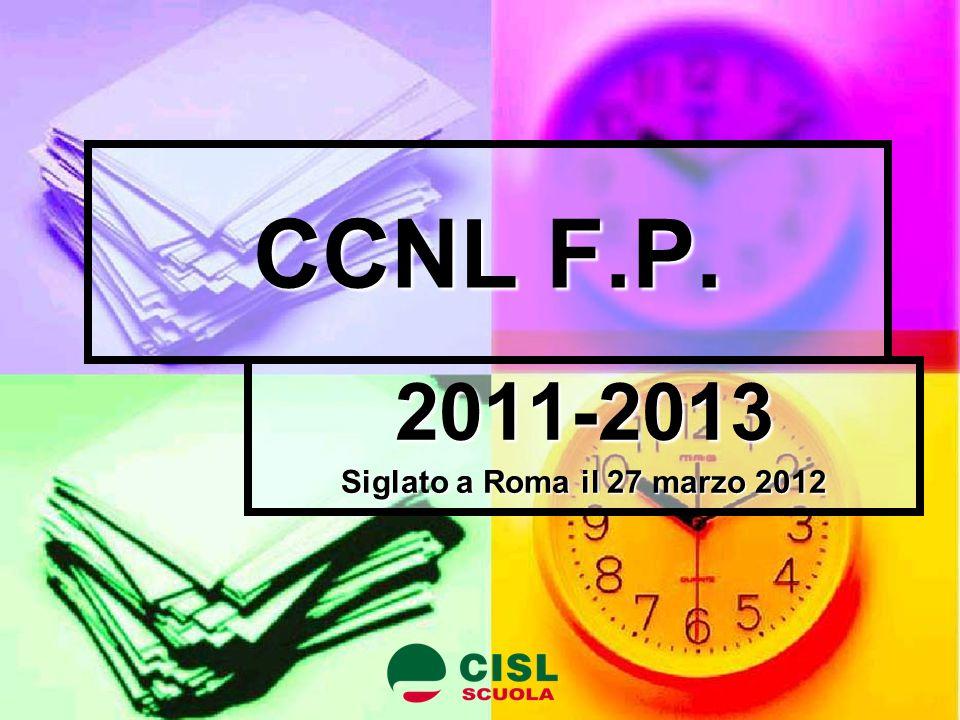 CCNL F.P. 2011-2013 Siglato a Roma il 27 marzo 2012