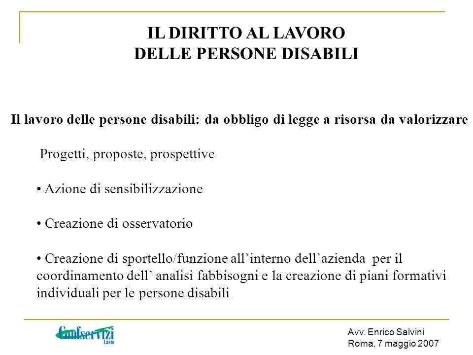 Avv. Enrico Salvini Roma, 7 maggio 2007 IL DIRITTO AL LAVORO DELLE PERSONE DISABILI Il lavoro delle persone disabili: da obbligo di legge a risorsa da