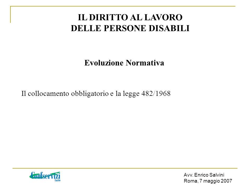 Avv. Enrico Salvini Roma, 7 maggio 2007 IL DIRITTO AL LAVORO DELLE PERSONE DISABILI Evoluzione Normativa Il collocamento obbligatorio e la legge 482/1