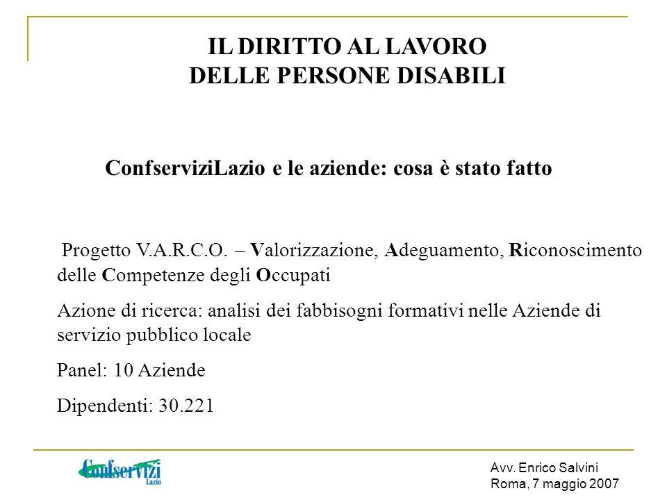 Avv. Enrico Salvini Roma, 7 maggio 2007 IL DIRITTO AL LAVORO DELLE PERSONE DISABILI ConfserviziLazio e le aziende: cosa è stato fatto Progetto V.A.R.C