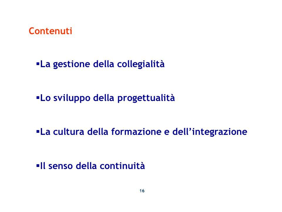 Contenuti La gestione della collegialità Lo sviluppo della progettualità La cultura della formazione e dellintegrazione Il senso della continuità 16