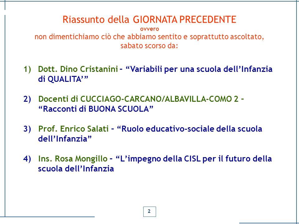 Dino Cristanini (Dirigente Tecnico MIUR) Modelli pedagogici che hanno condizionato, caratterizzato ed influenzato la nascita, la crescita della scuola materna/infanzia, in Italia, dalla origini ai nostri giorni.