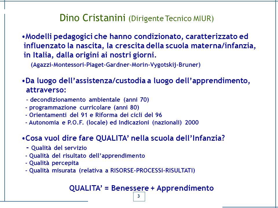 Dino Cristanini (Dirigente Tecnico MIUR) Modelli pedagogici che hanno condizionato, caratterizzato ed influenzato la nascita, la crescita della scuola