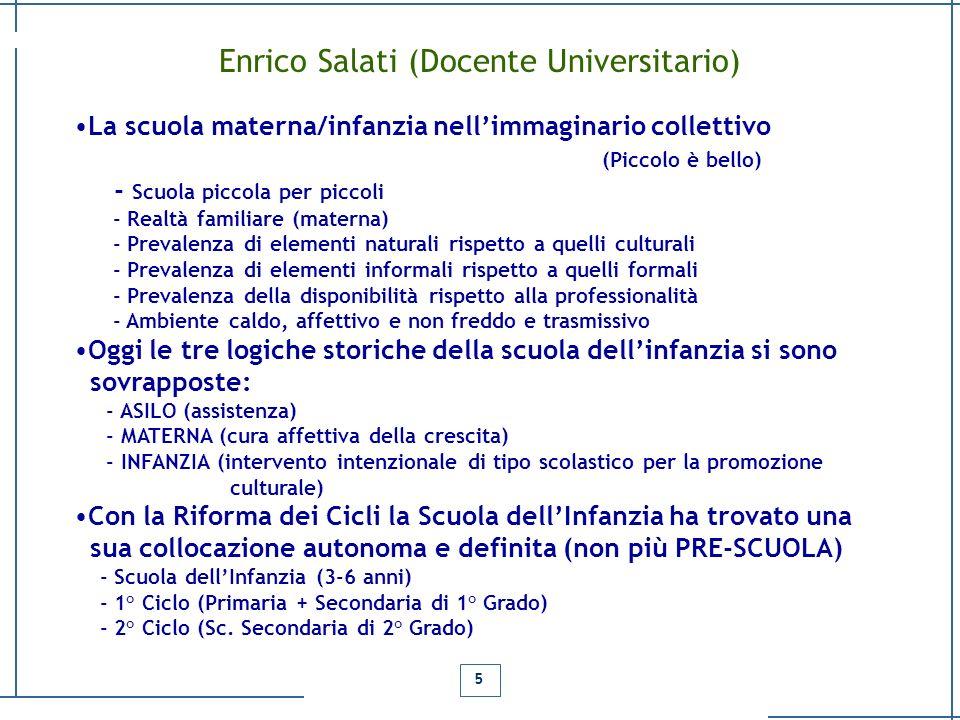 Enrico Salati (Docente Universitario) La scuola materna/infanzia nellimmaginario collettivo (Piccolo è bello) - Scuola piccola per piccoli - Realtà fa