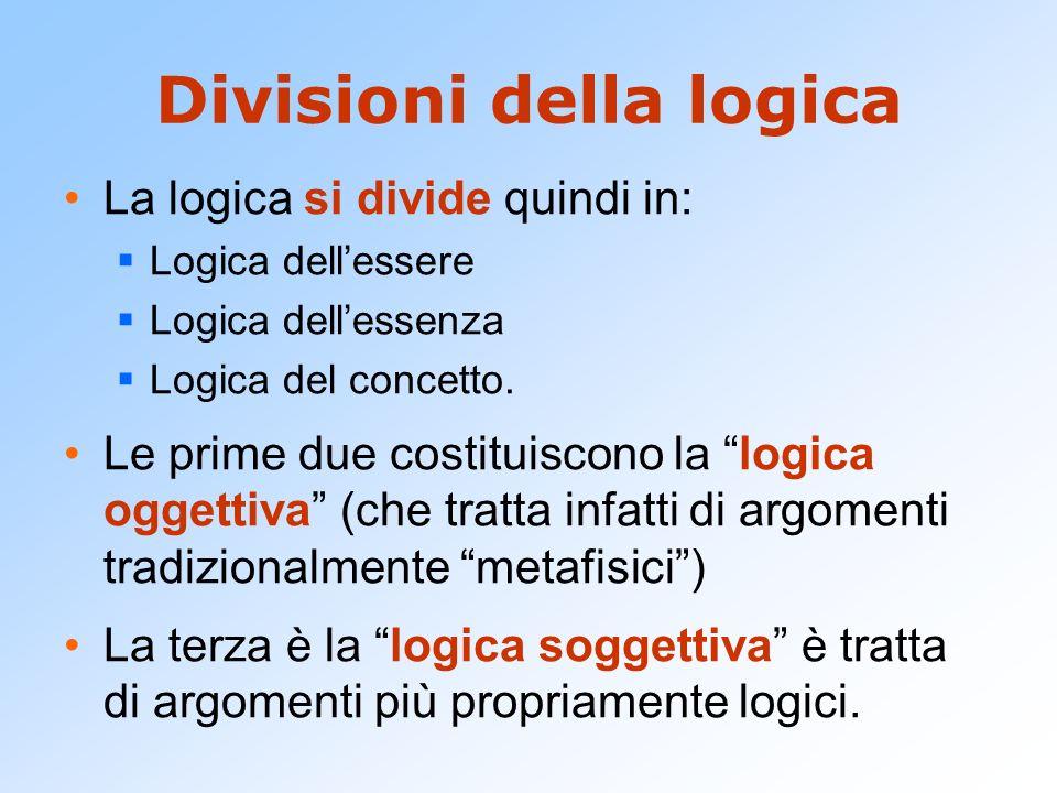 Divisioni della logica La logica si divide quindi in: Logica dellessere Logica dellessenza Logica del concetto. Le prime due costituiscono la logica o
