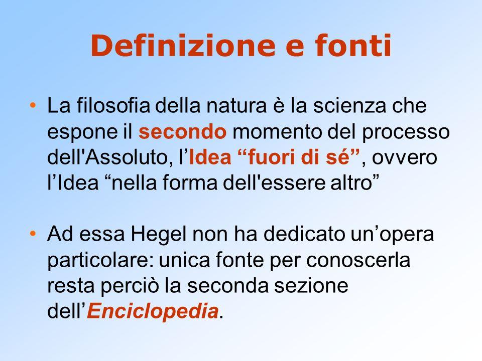 Definizione e fonti La filosofia della natura è la scienza che espone il secondo momento del processo dell'Assoluto, lIdea fuori di sé, ovvero lIdea n