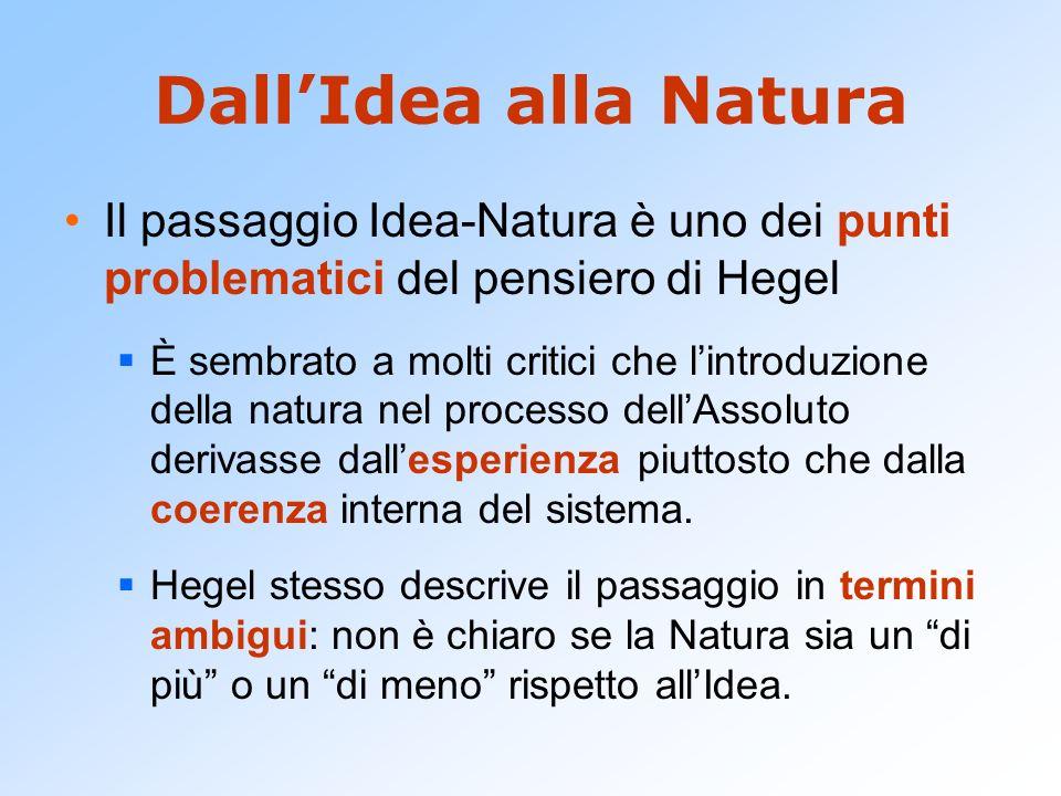 DallIdea alla Natura Il passaggio Idea-Natura è uno dei punti problematici del pensiero di Hegel È sembrato a molti critici che lintroduzione della na