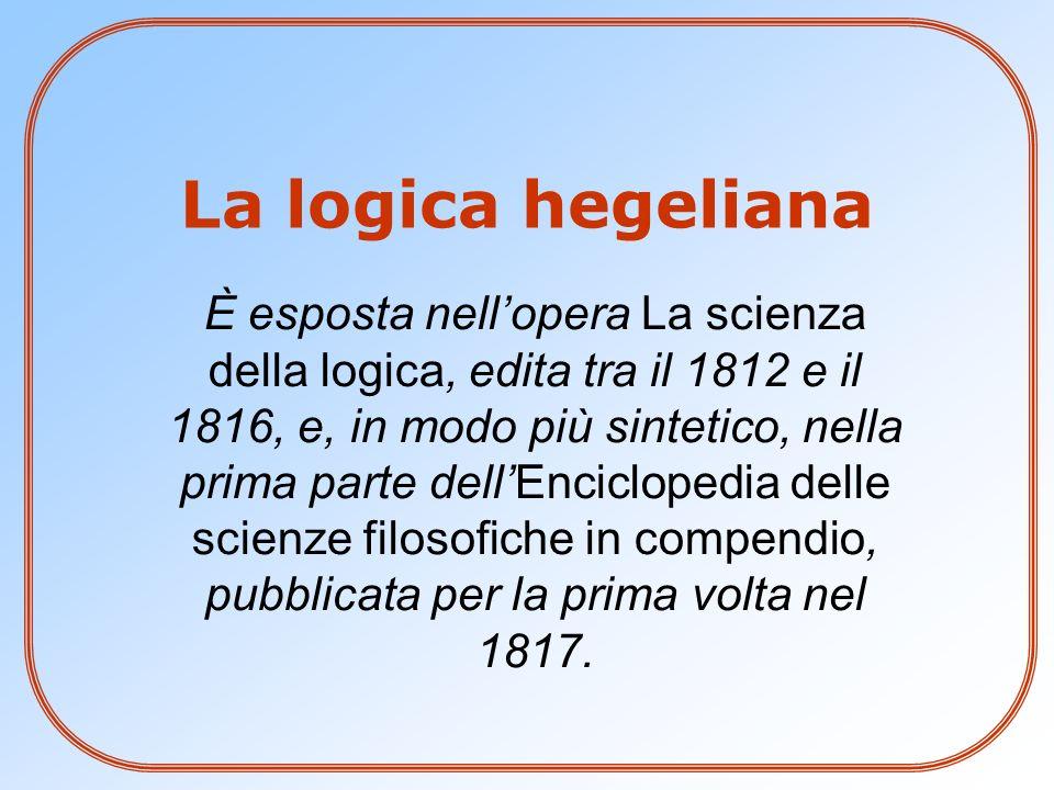 La logica hegeliana È esposta nellopera La scienza della logica, edita tra il 1812 e il 1816, e, in modo più sintetico, nella prima parte dellEnciclop