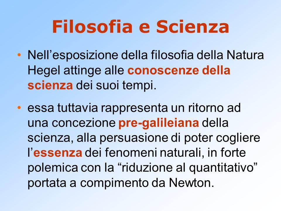 Filosofia e Scienza Nellesposizione della filosofia della Natura Hegel attinge alle conoscenze della scienza dei suoi tempi. essa tuttavia rappresenta