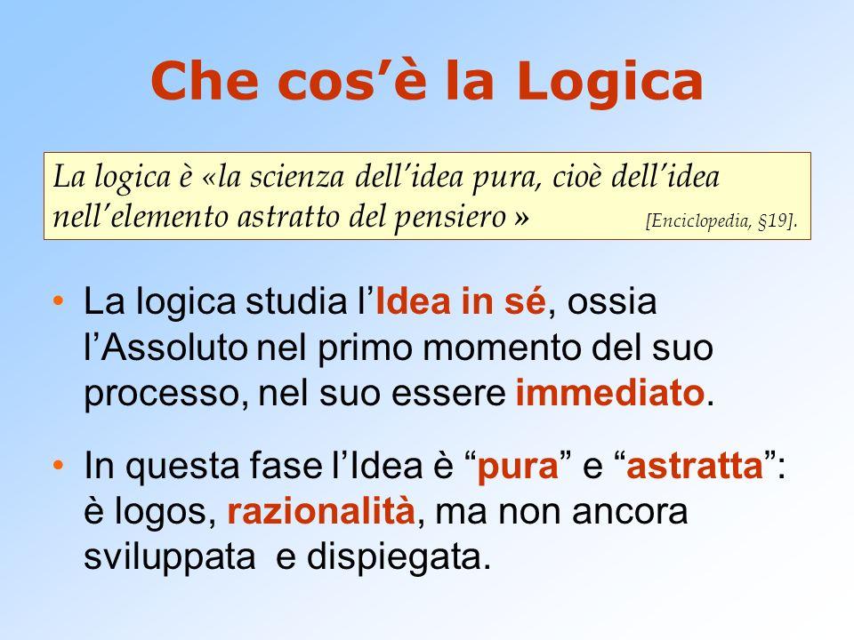 Che cosè la Logica La logica studia lIdea in sé, ossia lAssoluto nel primo momento del suo processo, nel suo essere immediato. In questa fase lIdea è