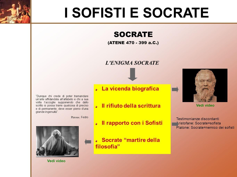 SOCRATE (ATENE 470 - 399 a.C.) I SOFISTI E SOCRATE L'ENIGMA SOCRATE La vicenda biografica Il rifiuto della scrittura Il rapporto con i Sofisti Socrate