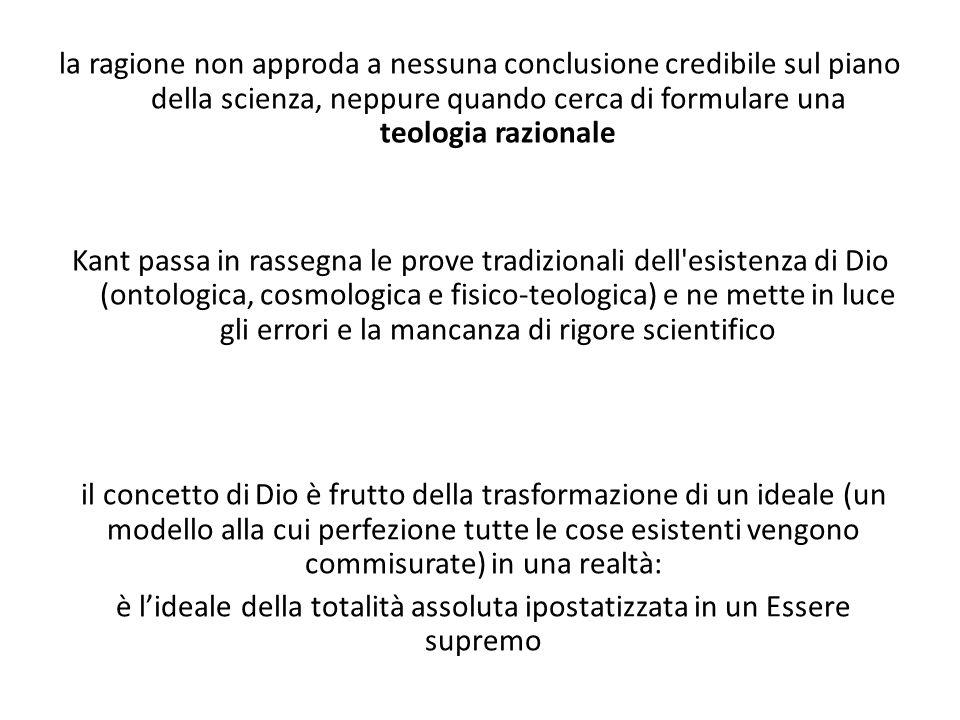 la ragione non approda a nessuna conclusione credibile sul piano della scienza, neppure quando cerca di formulare una teologia razionale Kant passa in