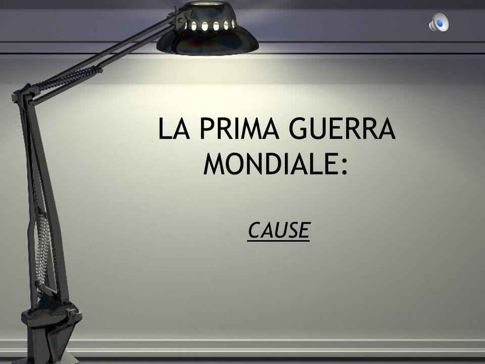 LA PRIMA GUERRA MONDIALE: CAUSE