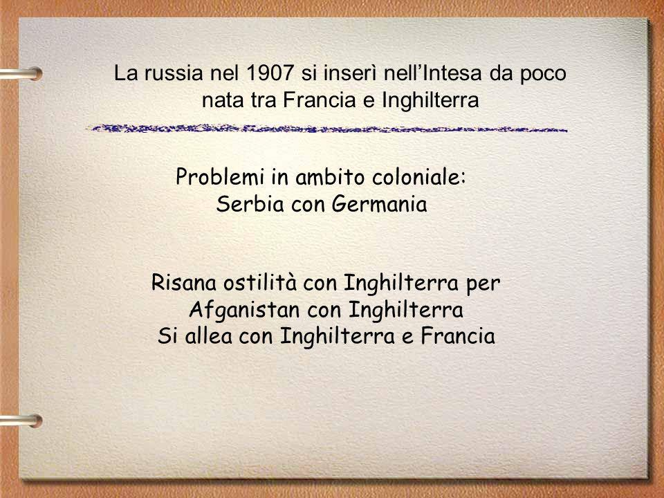 Problemi in ambito coloniale: Serbia con Germania Risana ostilità con Inghilterra per Afganistan con Inghilterra Si allea con Inghilterra e Francia La russia nel 1907 si inserì nellIntesa da poco nata tra Francia e Inghilterra