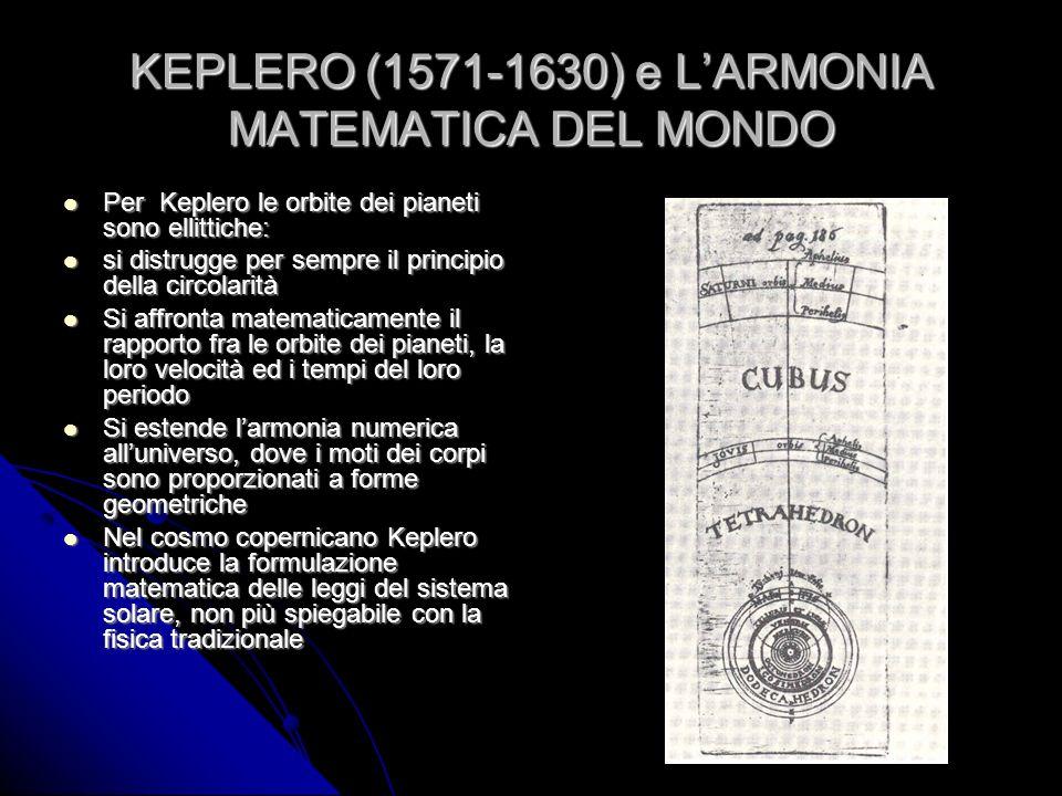 KEPLERO (1571-1630) e LARMONIA MATEMATICA DEL MONDO Per Keplero le orbite dei pianeti sono ellittiche: Per Keplero le orbite dei pianeti sono ellittic