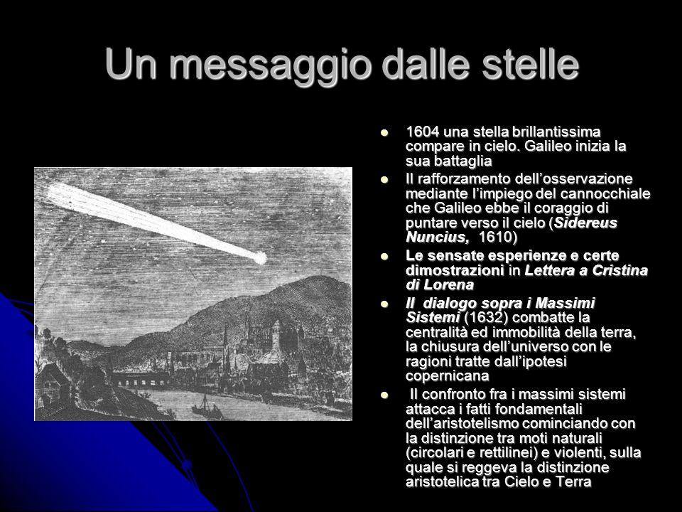 Un messaggio dalle stelle 1604 una stella brillantissima compare in cielo. Galileo inizia la sua battaglia 1604 una stella brillantissima compare in c