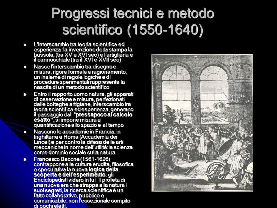 Progressi tecnici e metodo scientifico (1550-1640) Linterscambio tra teoria scientifica ed esperienza :la invenzione della stampa la bussola, (tra XV