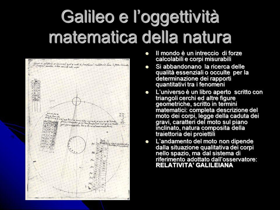 Galileo e loggettività matematica della natura Il mondo è un intreccio di forze calcolabili e corpi misurabili Il mondo è un intreccio di forze calcol