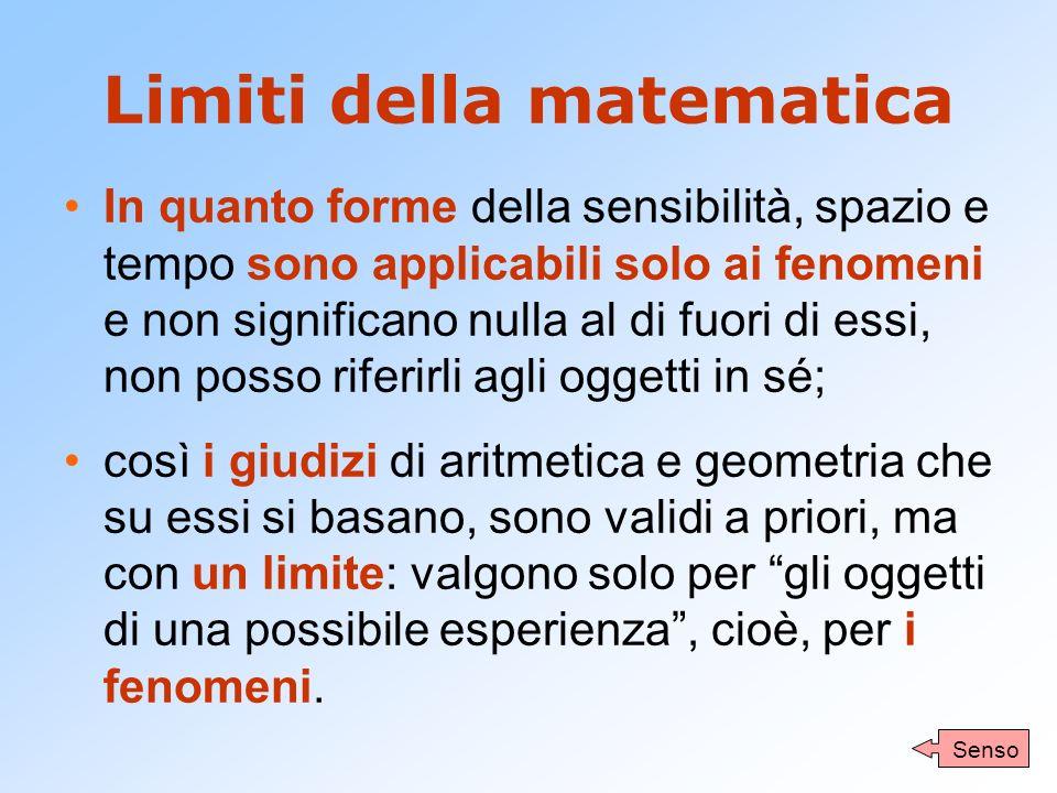 Limiti della matematica In quanto forme della sensibilità, spazio e tempo sono applicabili solo ai fenomeni e non significano nulla al di fuori di ess