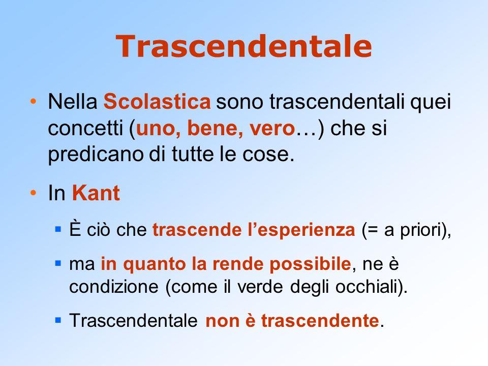 Trascendentale Nella Scolastica sono trascendentali quei concetti (uno, bene, vero…) che si predicano di tutte le cose. In Kant È ciò che trascende le
