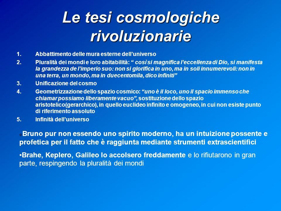 Le tesi cosmologiche rivoluzionarie 1.Abbattimento delle mura esterne delluniverso 2.Pluralità dei mondi e loro abitabilità: così si magnifica leccellenza di Dio, si manifesta la grandezza de limperio suo: non si glorifica in uno, ma in soli innumerevoli: non in una terra, un mondo, ma in duecentomila, dico infiniti 3.Unificazione del cosmo 4.Geometrizzazione dello spazio cosmico: uno è il loco, uno il spacio immenso che chiamar possiamo liberamente vacuo, sostituzione dello spazio aristotelico(gerarchico), in quello euclideo infinito e omogeneo, in cui non esiste punto di riferimento assoluto 5.Infinità delluniverso Bruno pur non essendo uno spirito moderno, ha un intuizione possente e profetica per il fatto che è raggiunta mediante strumenti extrascientifici Brahe, Keplero, Galileo lo accolsero freddamente e lo rifiutarono in gran parte, respingendo la pluralità dei mondi