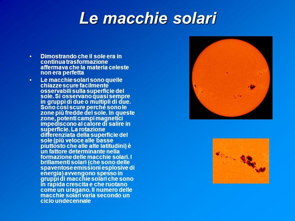 Le macchie solari Dimostrando che il sole era in continua trasformazione affermava che la materia celeste non era perfetta Le macchie solari sono quelle chiazze scure facilmente osservabili sulla superficie del sole.