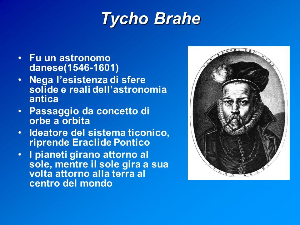 Tycho Brahe Fu un astronomo danese(1546-1601) Nega lesistenza di sfere solide e reali dellastronomia antica Passaggio da concetto di orbe a orbita Ideatore del sistema ticonico, riprende Eraclide Pontico I pianeti girano attorno al sole, mentre il sole gira a sua volta attorno alla terra al centro del mondo