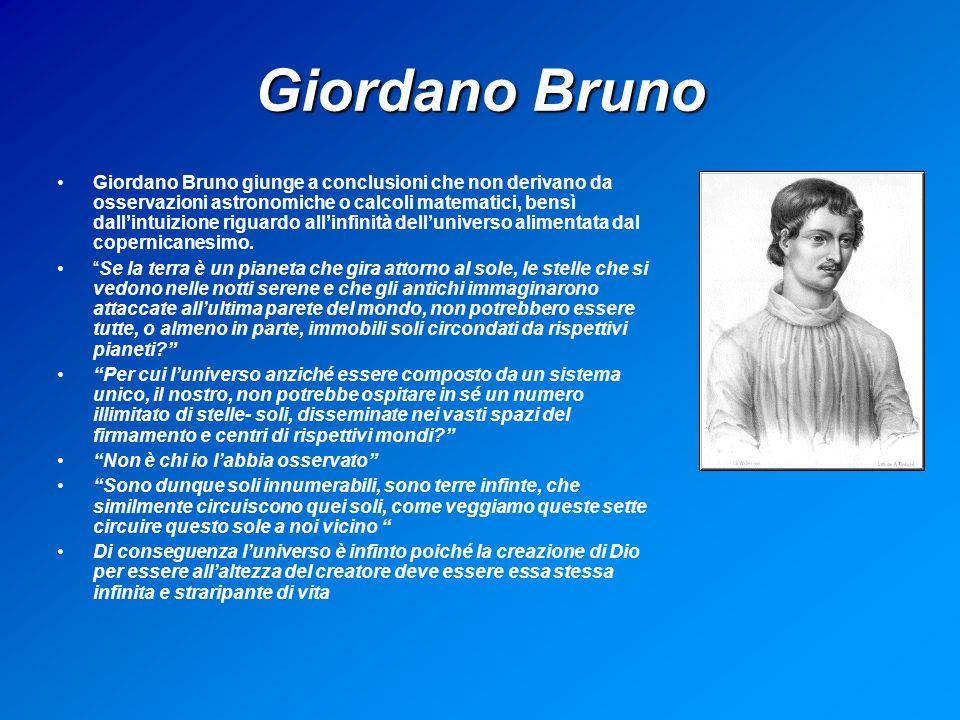 Giordano Bruno Giordano Bruno giunge a conclusioni che non derivano da osservazioni astronomiche o calcoli matematici, bensì dallintuizione riguardo allinfinità delluniverso alimentata dal copernicanesimo.