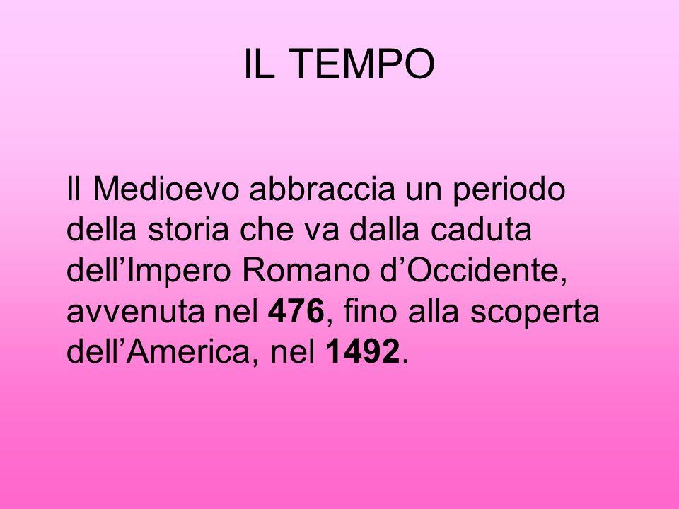IL TEMPO Il Medioevo abbraccia un periodo della storia che va dalla caduta dellImpero Romano dOccidente, avvenuta nel 476, fino alla scoperta dellAmerica, nel 1492.