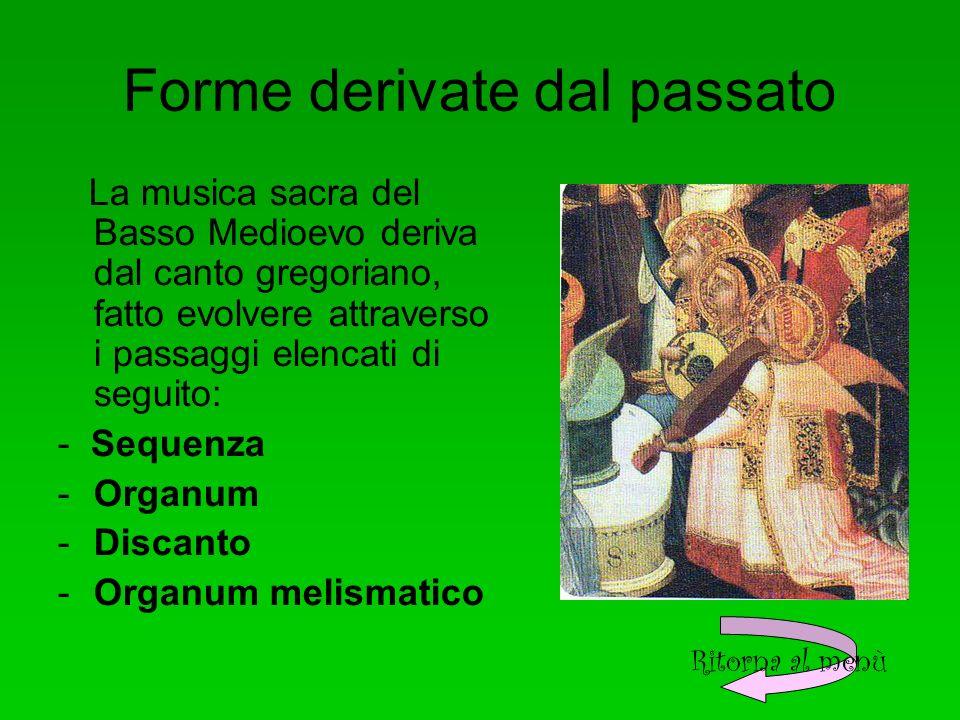 Forme derivate dal passato La musica sacra del Basso Medioevo deriva dal canto gregoriano, fatto evolvere attraverso i passaggi elencati di seguito: - Sequenza -Organum -Discanto -Organum melismatico Ritorna al menù
