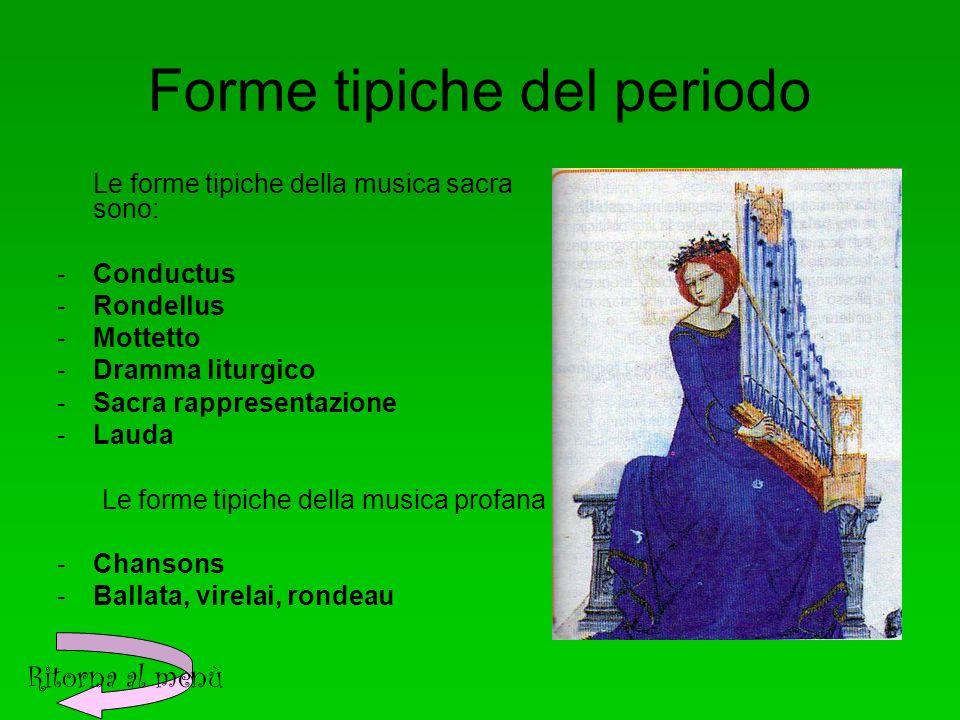 Forme tipiche del periodo Le forme tipiche della musica sacra sono: -Conductus -Rondellus -Mottetto -Dramma liturgico -Sacra rappresentazione -Lauda Le forme tipiche della musica profana sono: -Chansons -Ballata, virelai, rondeau Ritorna al menù