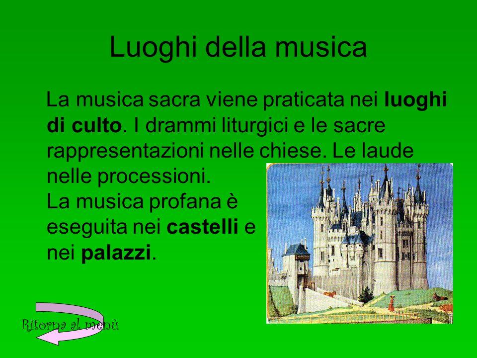 Luoghi della musica La musica sacra viene praticata nei luoghi di culto.