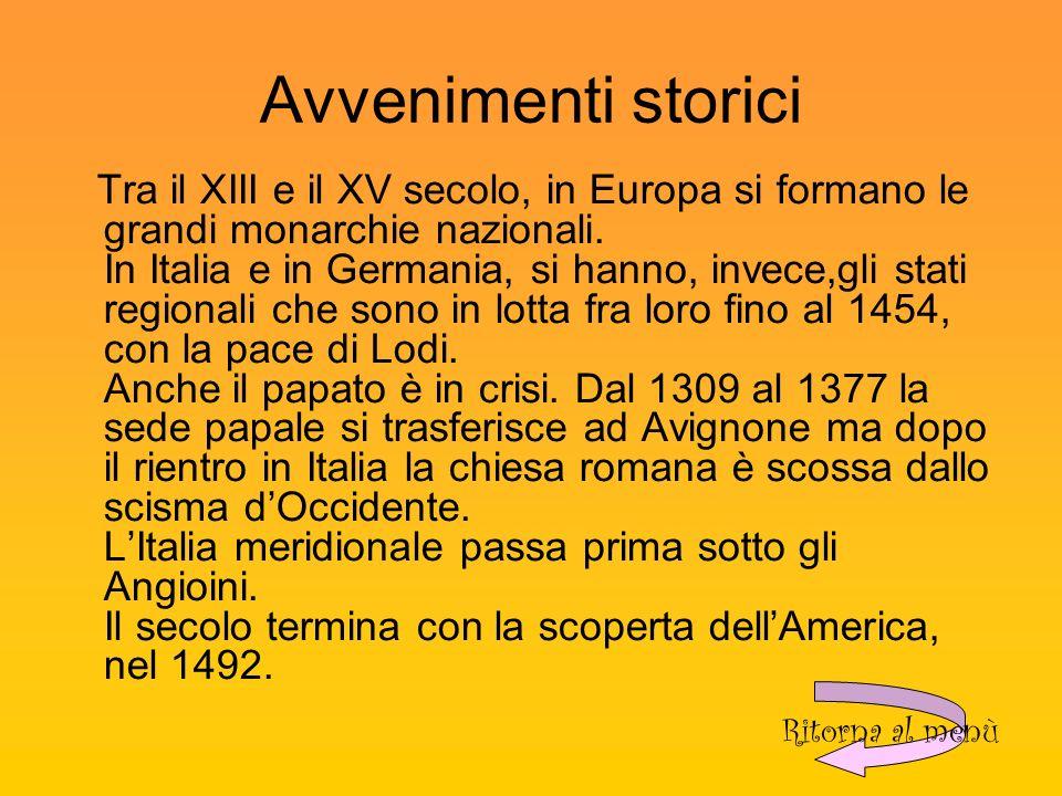 Avvenimenti storici Tra il XIII e il XV secolo, in Europa si formano le grandi monarchie nazionali.