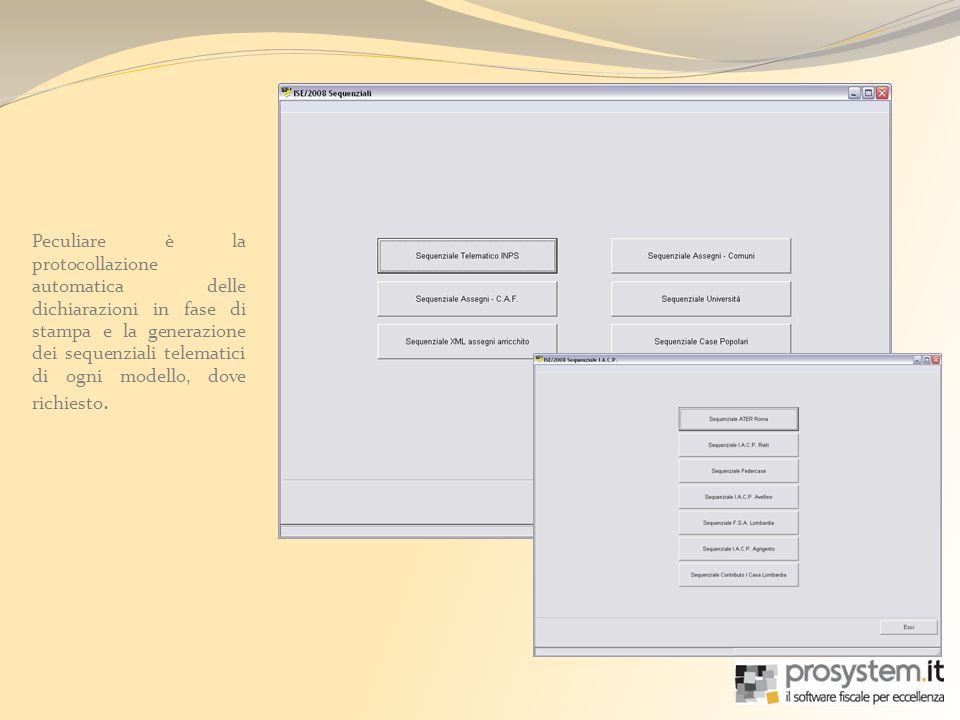 Peculiare è la protocollazione automatica delle dichiarazioni in fase di stampa e la generazione dei sequenziali telematici di ogni modello, dove richiesto.