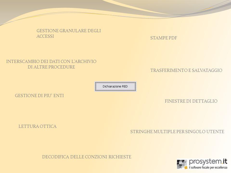 GESTIONE GRANULARE DEGLI ACCESSI FINESTRE DI DETTAGLIO INTERSCAMBIO DEI DATI CON LARCHIVIO DI ALTRE PROCEDURE TRASFERIMENTO E SALVATAGGIO STAMPE PDF GESTIONE DI PIU ENTI LETTURA OTTICA DECODIFICA DELLE CONZIONI RICHIESTE STRINGHE MULTIPLE PER SINGOLO UTENTE