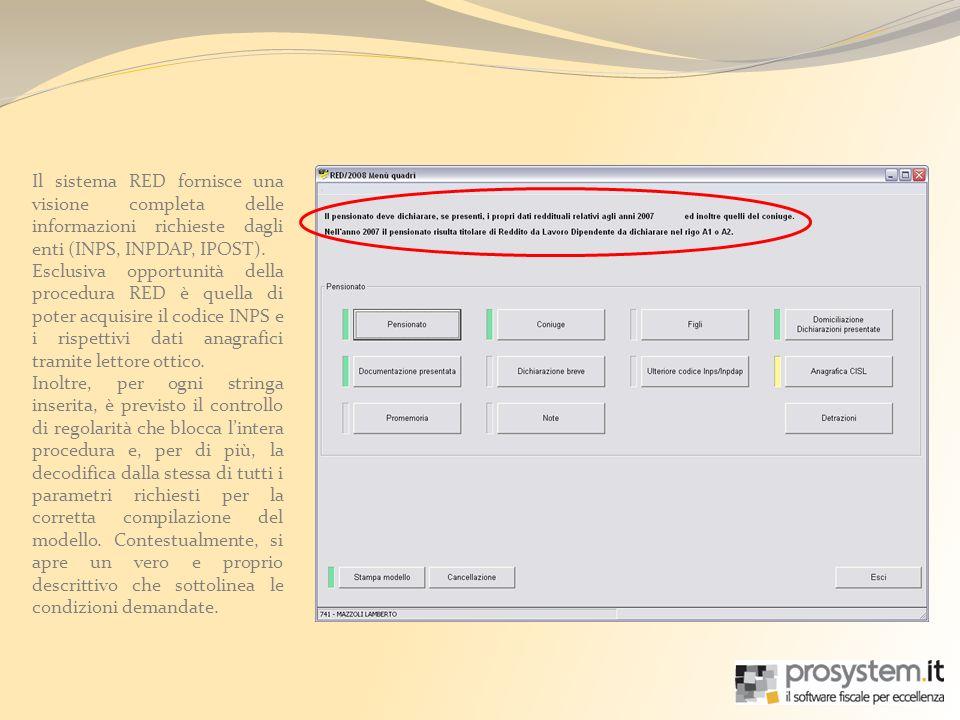 Il sistema RED fornisce una visione completa delle informazioni richieste dagli enti (INPS, INPDAP, IPOST).
