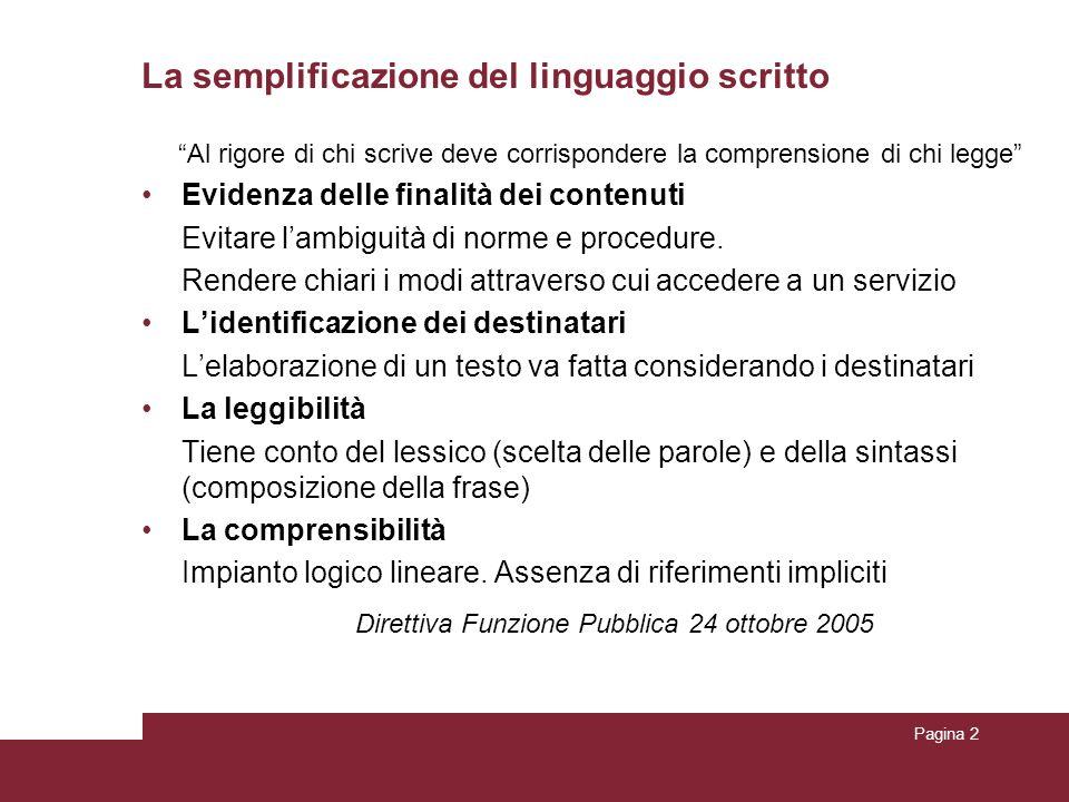 Pagina 2 La semplificazione del linguaggio scritto Al rigore di chi scrive deve corrispondere la comprensione di chi legge Evidenza delle finalità dei