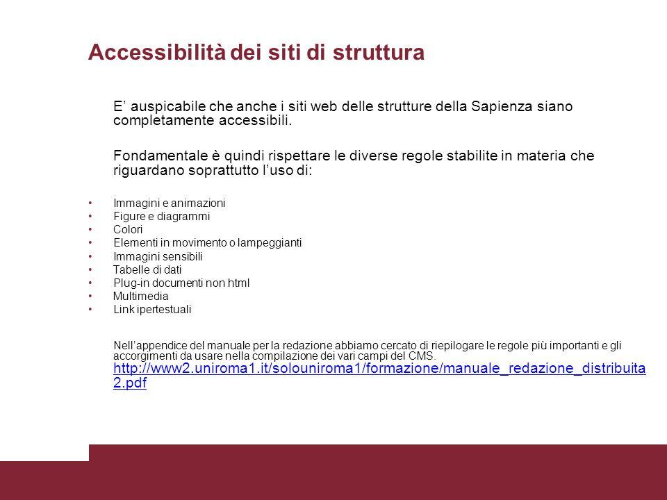Accessibilità dei siti di struttura E auspicabile che anche i siti web delle strutture della Sapienza siano completamente accessibili. Fondamentale è