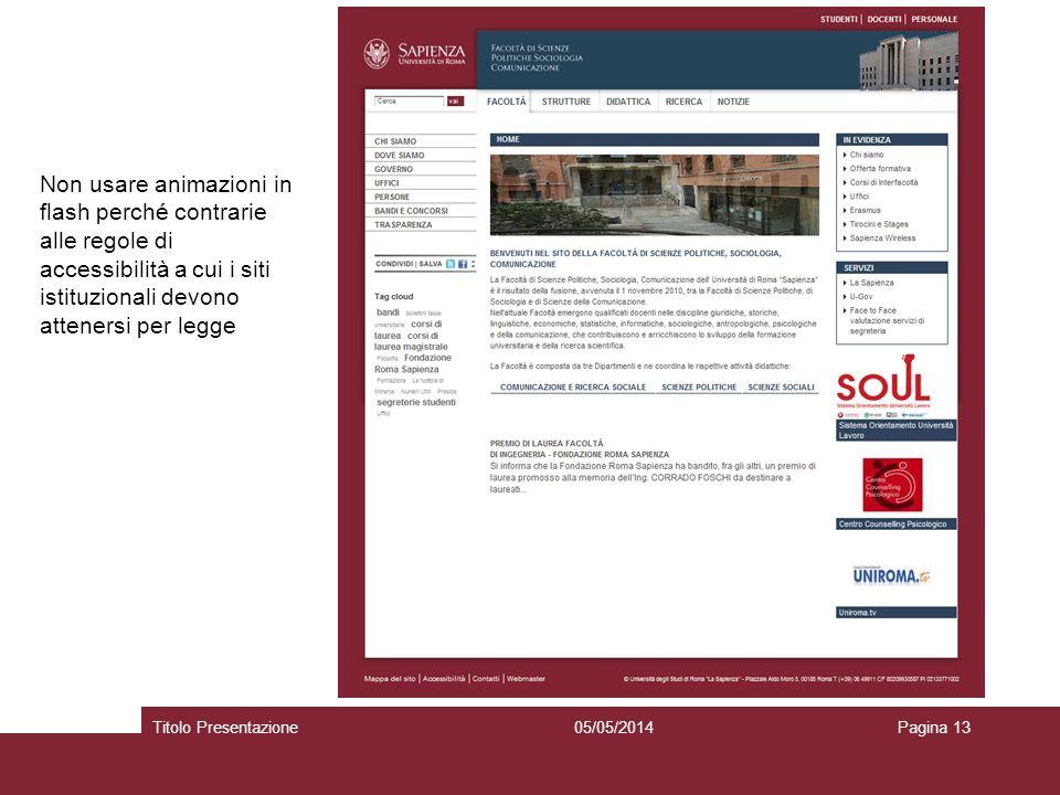 05/05/2014Titolo PresentazionePagina 13 Non usare animazioni in flash perché contrarie alle regole di accessibilità a cui i siti istituzionali devono attenersi per legge