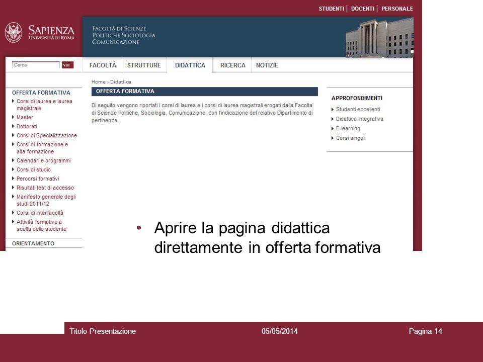 05/05/2014Titolo PresentazionePagina 14 Aprire la pagina didattica direttamente in offerta formativa
