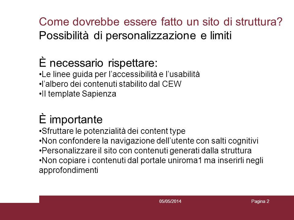 05/05/2014Pagina 2 Come dovrebbe essere fatto un sito di struttura? Possibilità di personalizzazione e limiti È necessario rispettare: Le linee guida