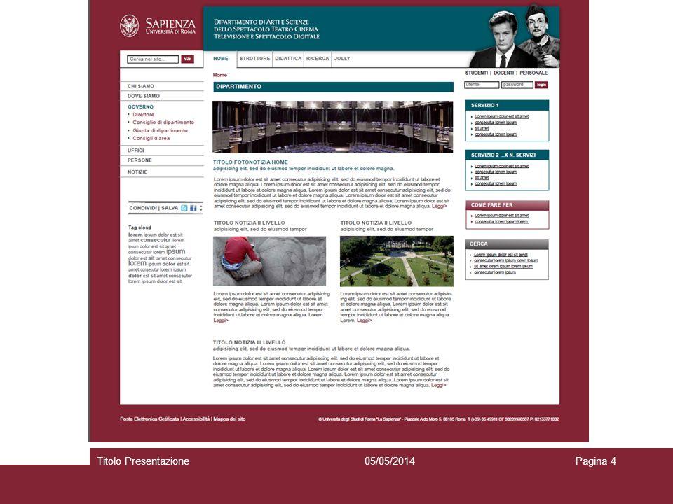 05/05/2014Titolo PresentazionePagina 4 Selezionare per scrivere o eliminare il sottotitolo