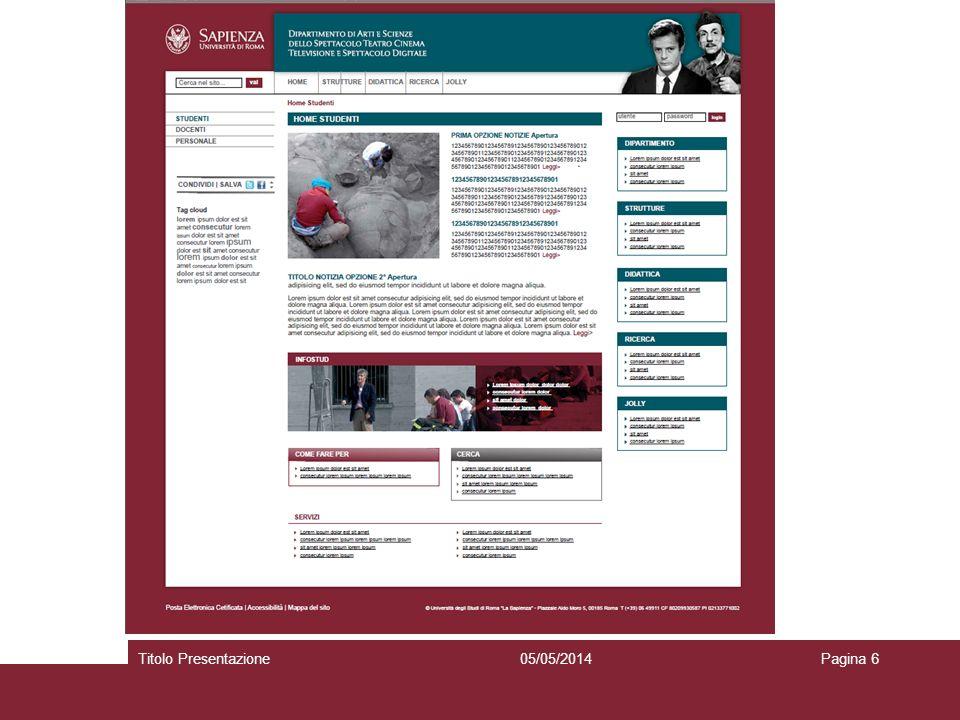05/05/2014Titolo PresentazionePagina 6 Selezionare per scrivere o eliminare il sottotitolo