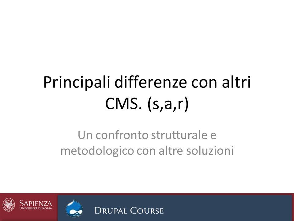 Principali differenze con altri CMS. (s,a,r) Un confronto strutturale e metodologico con altre soluzioni