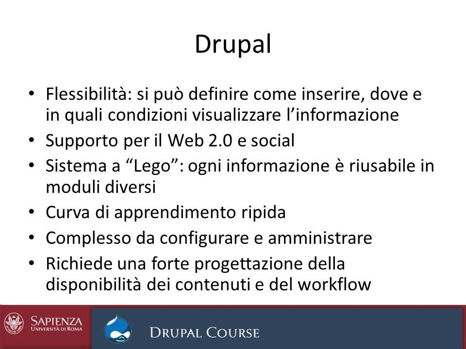 Drupal Flessibilità: si può definire come inserire, dove e in quali condizioni visualizzare linformazione Supporto per il Web 2.0 e social Sistema a L