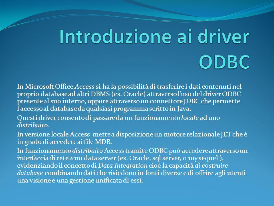 In Microsoft Office Access si ha la possibilità di trasferire i dati contenuti nel proprio database ad altri DBMS (es.