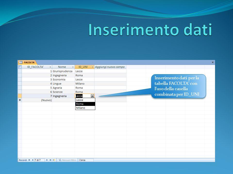 Inserimento dati per la tabella FACOLTA con luso della casella combinata per ID_UNI