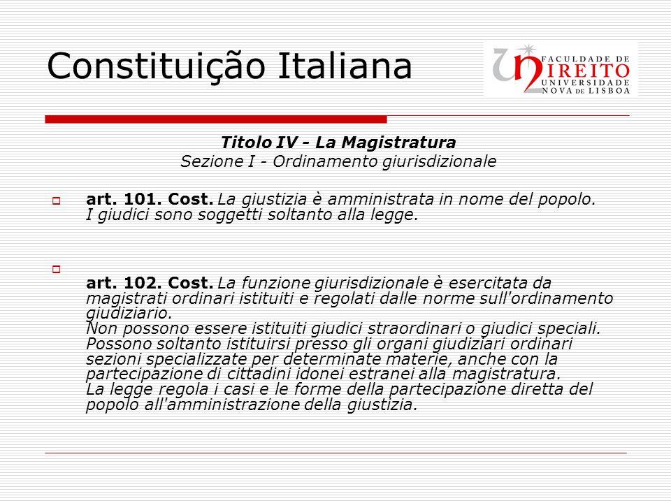 Constituição Italiana Titolo IV - La Magistratura Sezione I - Ordinamento giurisdizionale art. 101. Cost. La giustizia è amministrata in nome del popo