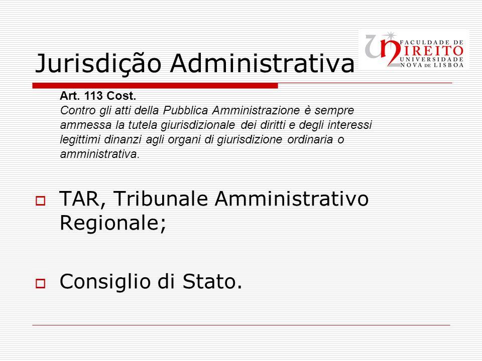 Jurisdição Administrativa TAR, Tribunale Amministrativo Regionale; Consiglio di Stato.