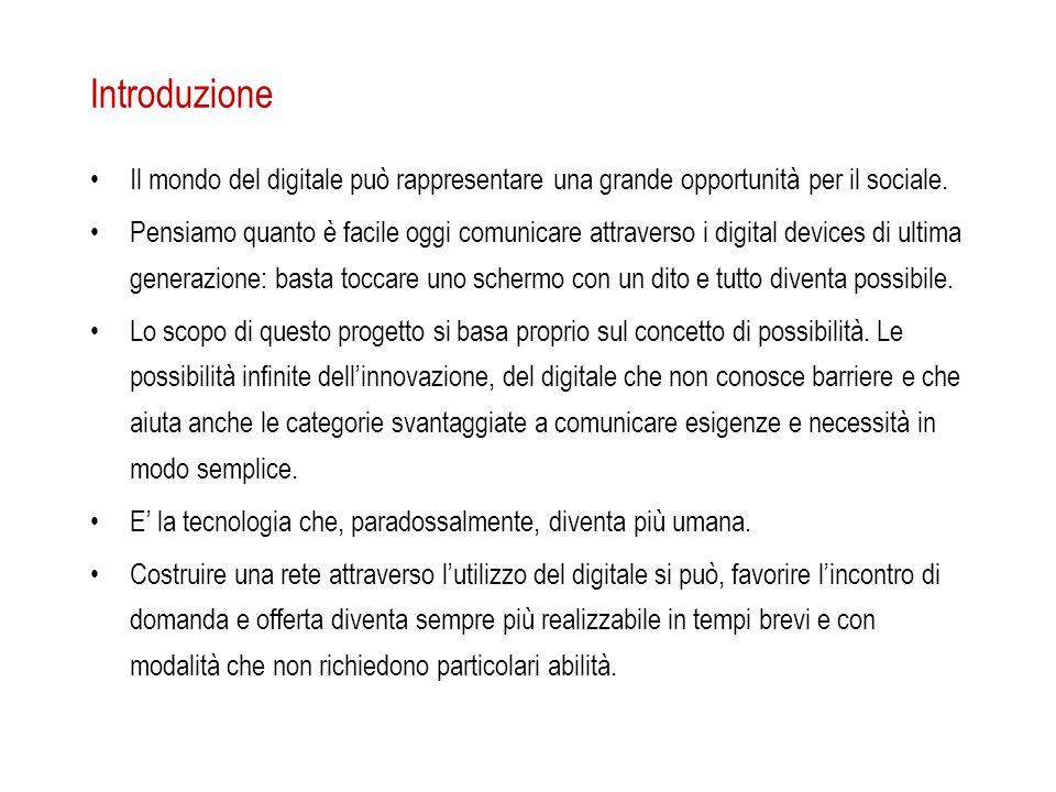 Introduzione Il mondo del digitale può rappresentare una grande opportunità per il sociale. Pensiamo quanto è facile oggi comunicare attraverso i digi